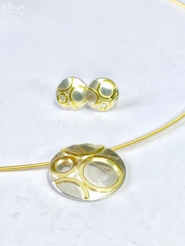 Collier/Ohrstecker-Set Goldkreise